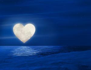 heart moon over lake